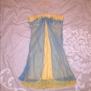 Beautiful Blue and Yellow Dress Size 10